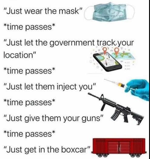 just wear mask government track your locaion inject you give up guns get on the box train
