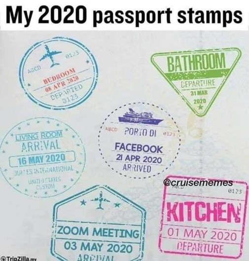 my 2020 passport stamps bathroom kitchen facebook zoom meeting