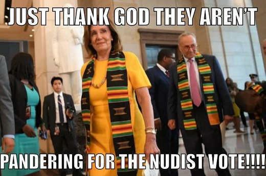 pelosi schumer thank god not pandering for nudist vote