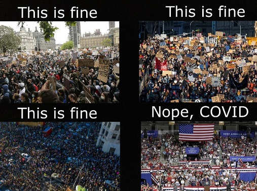protests this is fine trump rallies no covid
