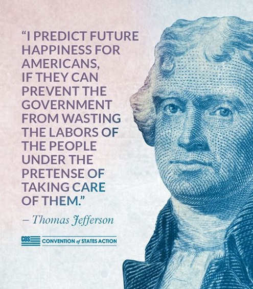 quote thomas jefferson predict happiness for americans if can prevent government from wasting labors taking care of them