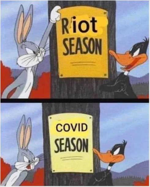 riot season covid season bugs bunny daffy duck