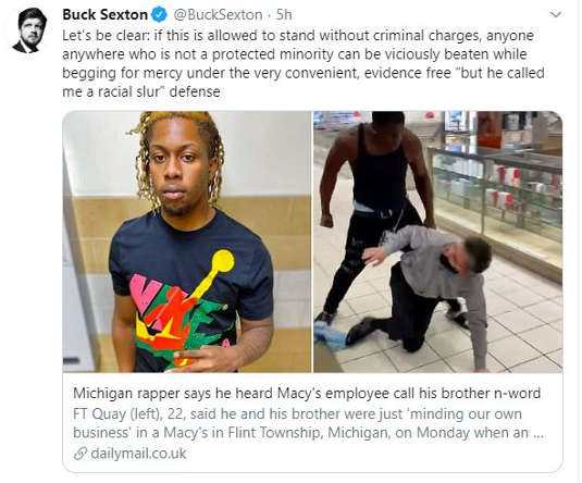 tweet buck sexton protected minority if say call me by racial slur