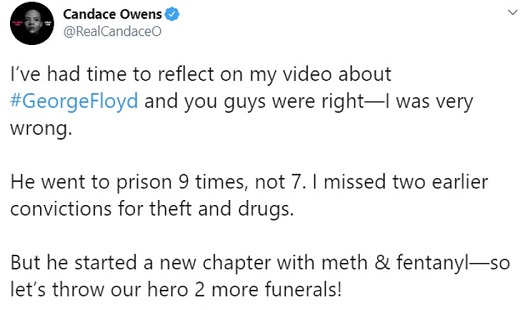 tweet candace owens george floyd wrong went to prison 9 times throw hero 2 more funerals