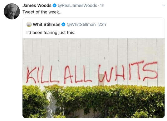 tweet james woods kill all whits graffiti