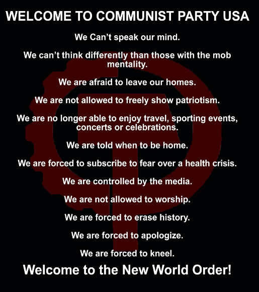 welcome to communist party usa new world order cant speak mind