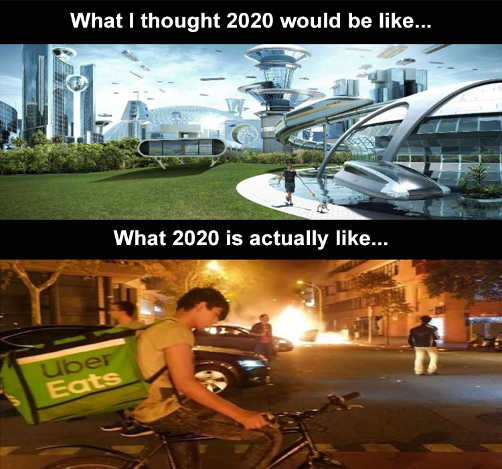 what i thought 2020 would be like futuristic actual explosions uber eats