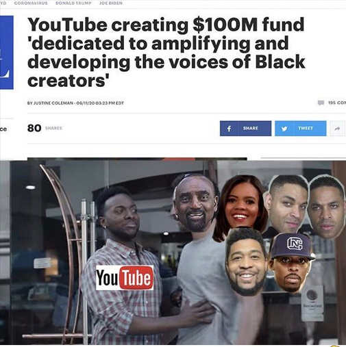 youtube creating 100 million fund black creators censors black conservatives candace owens