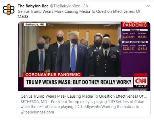 babylon bee genius trump wears mask so media now question effectiveness