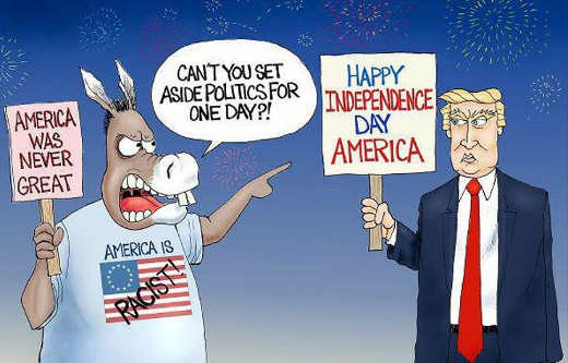 happy independence day trump democrats americ never great racist