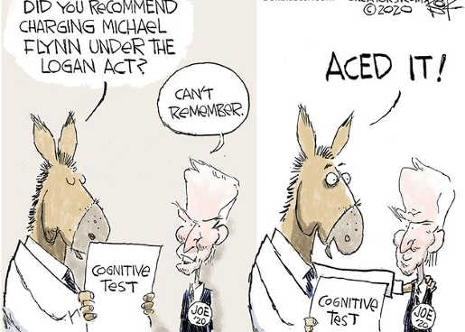 joe biden cognitive test remember flynn logan act no aced it