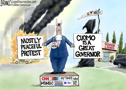 mainstream media peaceful protest riots cuomo is great governor senior living