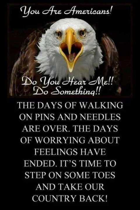 message you are americans do something days of walking on pins needles over