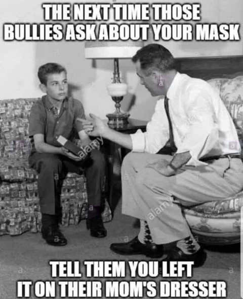 next time bullies ask about mask tell them left on their moms dresser