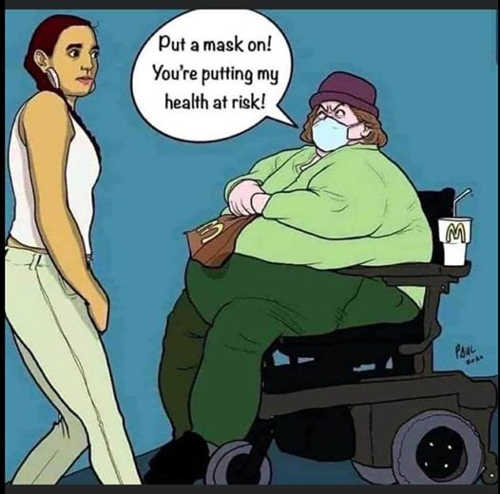 put your mask on putting my health at risk fat scooter