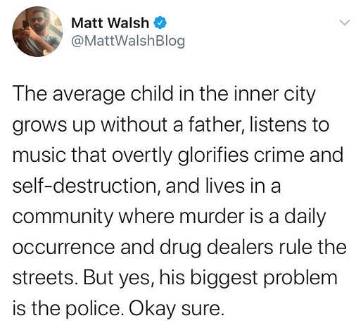 tweet matt walsh average inner city kid no father listens to music glorifies crime murder drug dealers but police are problem