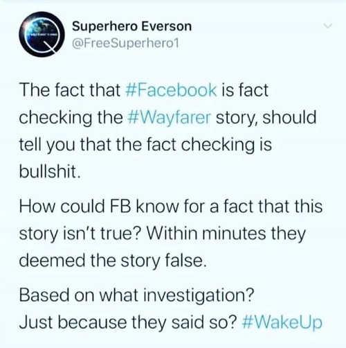 tweet superhero everson facebook fact checking wayfarer deemed false without investigation