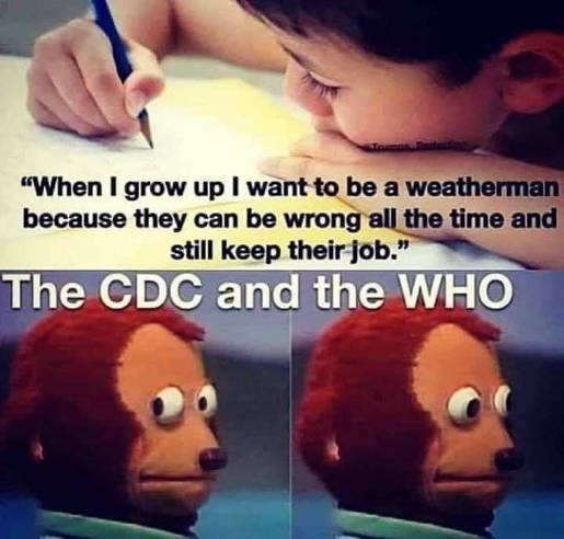 when i grow up i want to be weatherman can be wrong all the time and keep their job cdc who