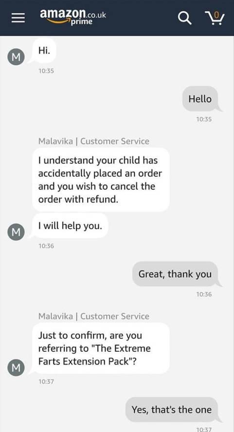 amazon customer service order cancellation kid fart pack