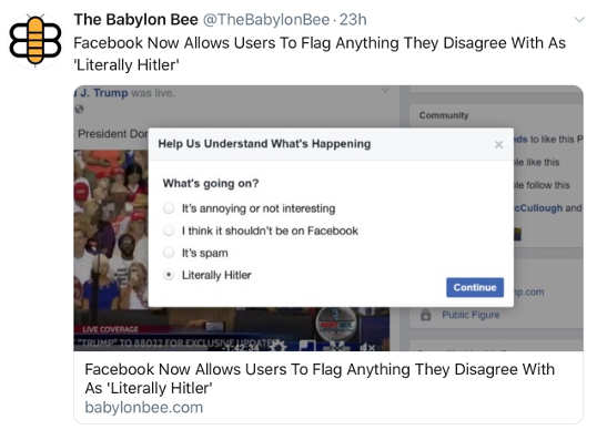babylon bee facebook now allows users to flag anything literally hitler