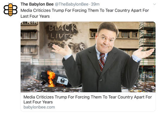 babylon bee media criticizes trump for forcing them to tear country apart
