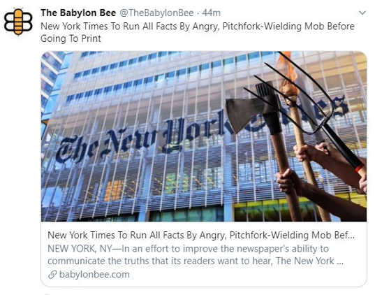 babylon bee new york times to run all facts by angry pitchfork mob
