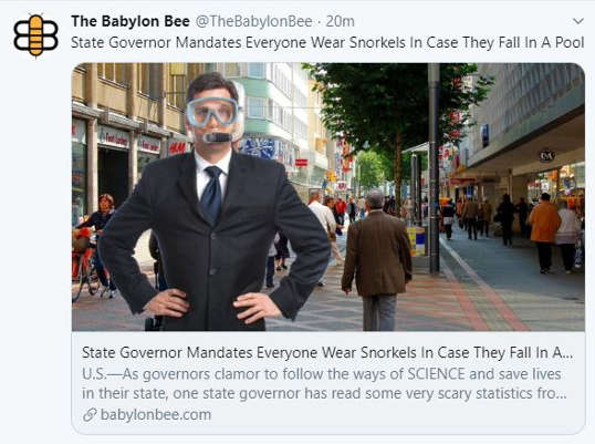babylon bee state governor mandates everyone wear snorkels in case fall in pool