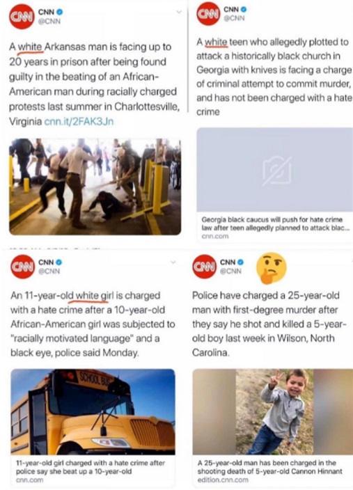 cnn comparison coverage hate crimes white black