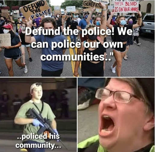 defund police we cand police own community dis so liberals screaming