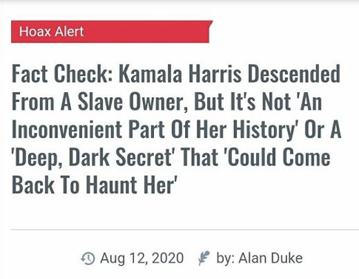 fact check kamala harris decended from slave owner true but not deep dark secret