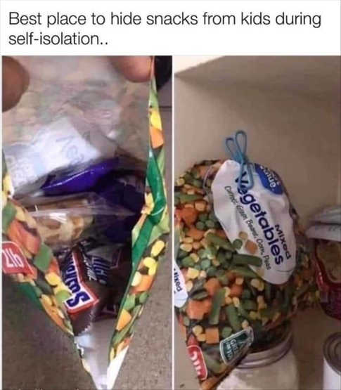 hiding candy from kids in quarantine vegetable bag