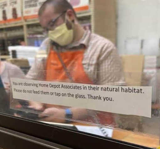 home depot employees in their natural habitat glass sign