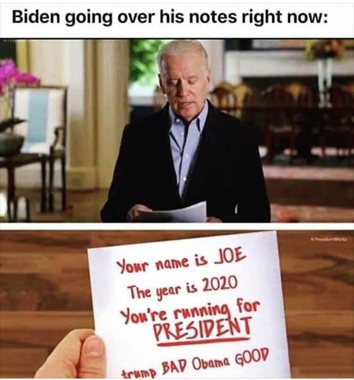 joe biden going over notes your name joe year 2020 trump bad obama good