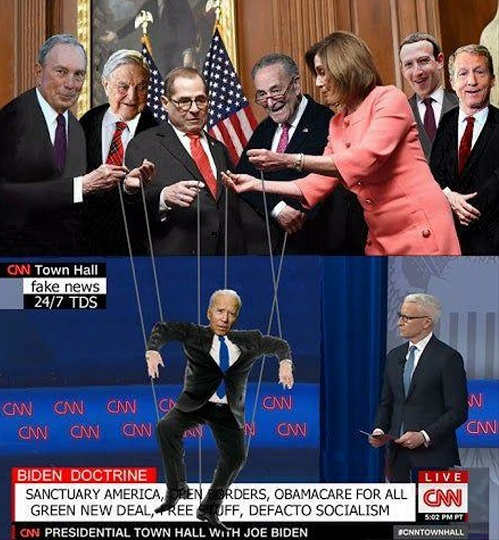 joe biden puppet of soros bloomberg pelosi schumer zuckerberg china cnn debate stage