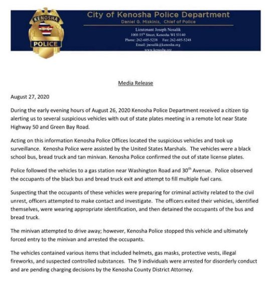 kenosha police department letter out of state anarchists