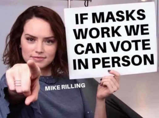 message if masks work we can vote in person sign