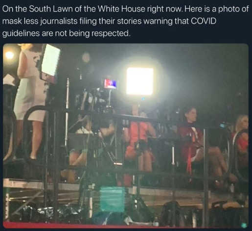 south lawn white house no mask reporters writing columns criticizing everyone else