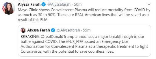 tweet alyssa farah mayo clinton convalescent plasma treatment 30 to 50 percent death rate reduction