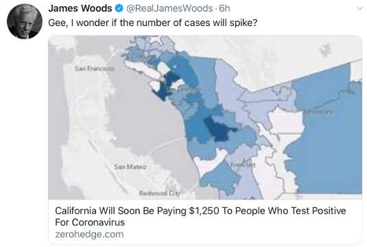 tweet james woods california to pay for covid diagnosis