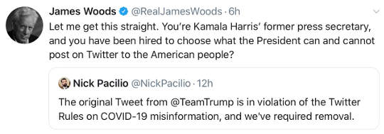 tweet james woods kamala harris press secretary censoring trump twitter