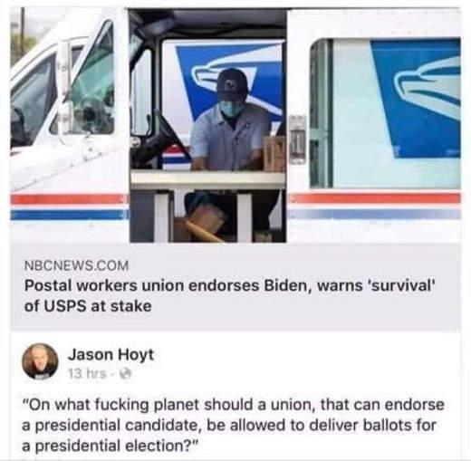 tweet postal workers union endorses biden jason hoyt in what world deliver ballots