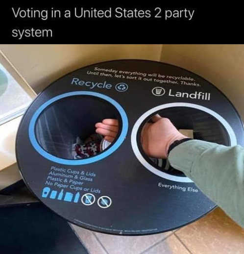 voting in united states 2 party system recycle bin garbage same