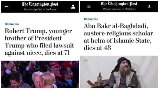 washington post headlines trump brother compared abu bakr austere religious scholar