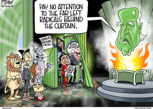 wizard of oz joe biden pay no attention to far left socialist radicals behind curtain bernie aoc