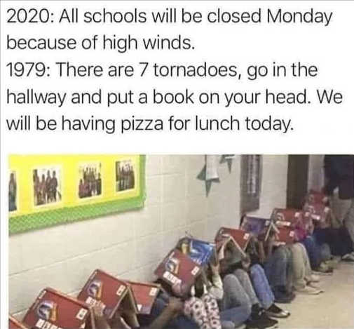 2020 schools closed high winds 1979 tornados hold book over your head