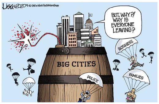 big cities everyone parachute out business families police riots
