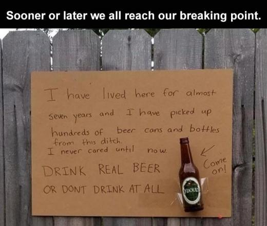 breaking point empty beer bottles odouls sign