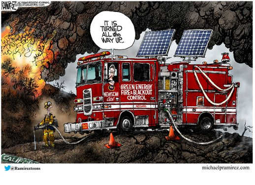 california it is turned all the way up green energy blackout fire engine
