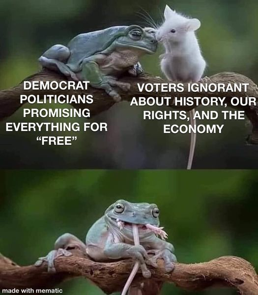 frog mouse democrats promising everything for free ignorant of history economy eaten