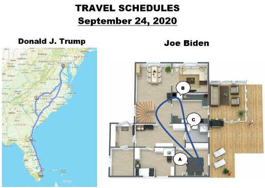joe biden donald trump travel schedule sep 24th east coast basement